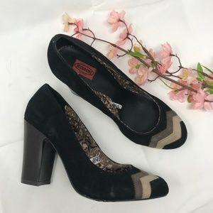 Missoni Black Suede Chevron Chunky Heels Size 7 M